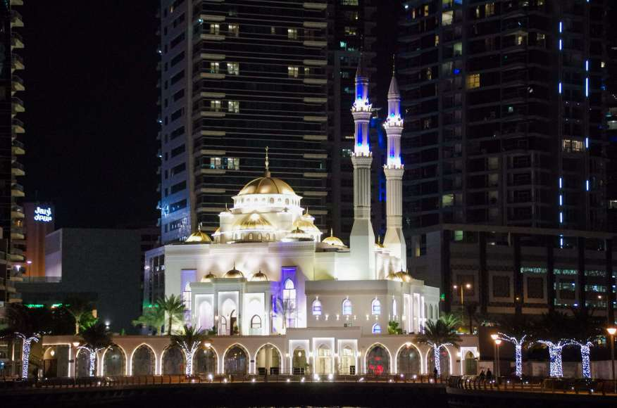 Dubai Marina at night Mosque