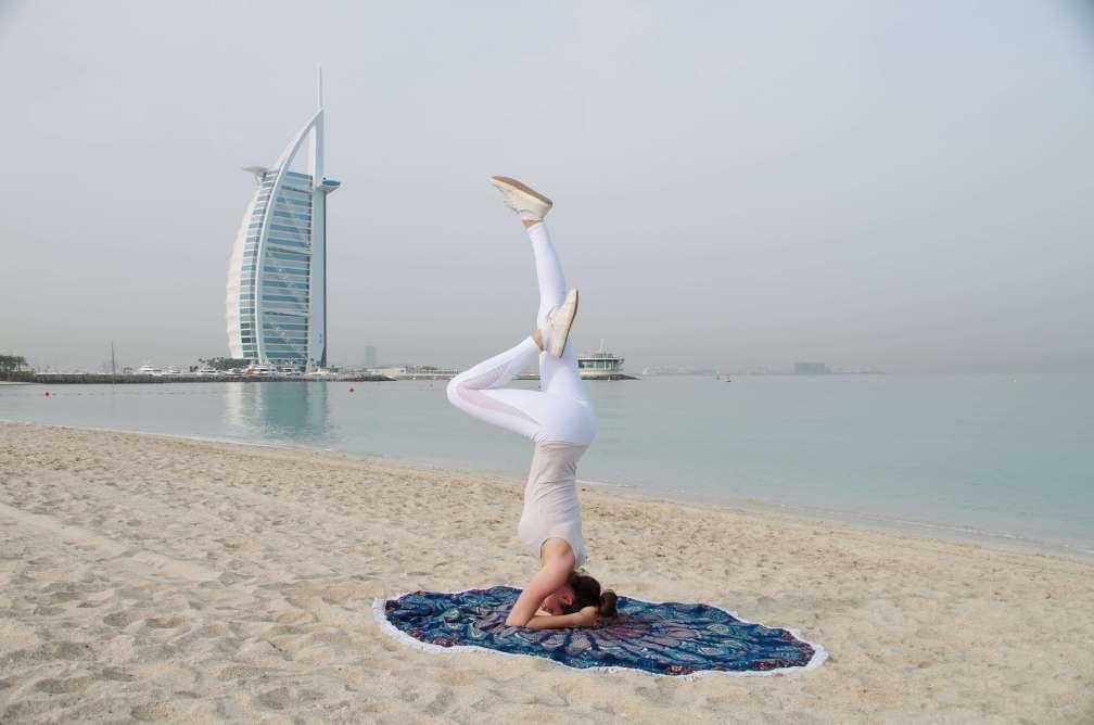 Dubai beach yoga