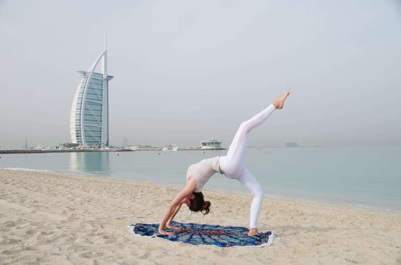 Dubai beach yoga